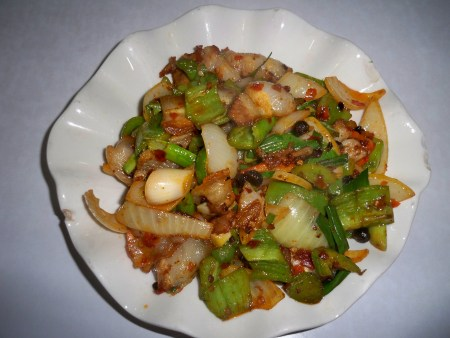 Twice cooked pork with green pepper