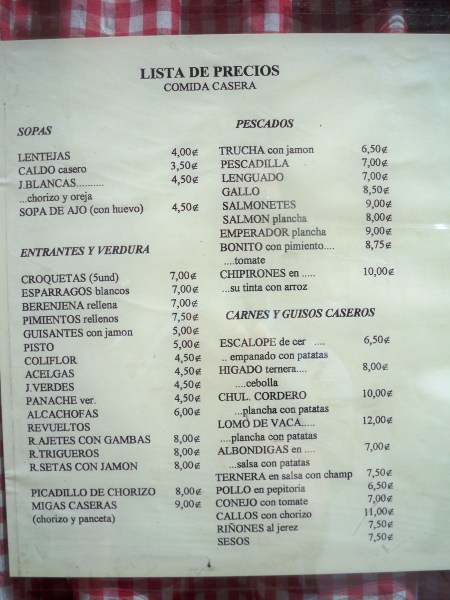 Cheap menu