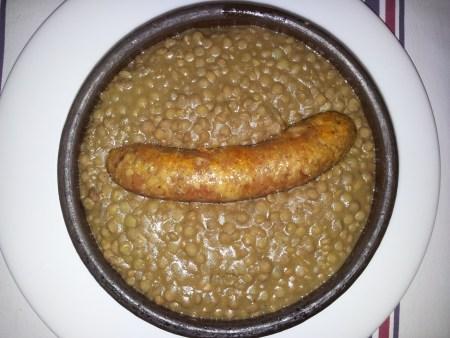Saucisse de Toulouse con Lentejas