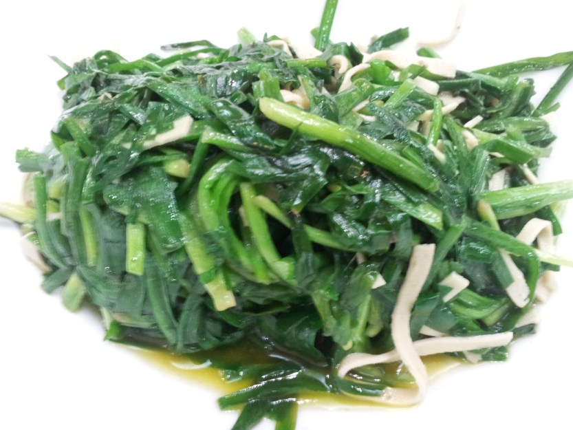 Spinach with ribbon tofu