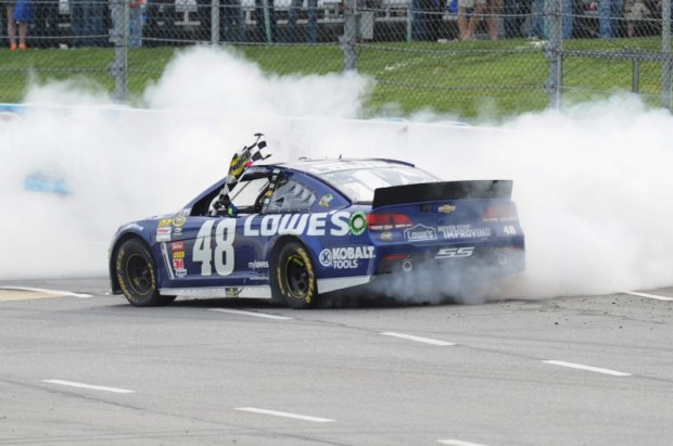 """There was not one doubt in anyone's mind who the dominant car was this weekend.  Jimmie Johnson now has the most grandfather clock trophies of any active driver at the """"Paper Clip."""""""