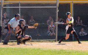 EYE ON THE BALL - Curwensville's Abby Johnson is set to connect on one of her three hits in an 11-2 win over Moshannon Valley on Friday.