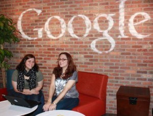 Penn State DuBois IST Student Jessica Noland, left, and her internship host Jenn Evans, a corporate operations engineer with Google, meet in a common area of Google's Pittsburgh office complex.  (Provided photo)