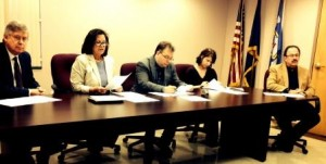 Pictured are Commissioners John A. Sobel, Joan Robinson-McMillen, chair, and Mark B. McCracken with Jodi Brennan, county planning and solid waste authority director, and Kim Kesner, solicitor, at Friday morning's press conference. (Photo by Jessica Shirey)