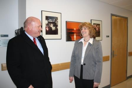 U.S. Rep. Glenn Thompson is welcomed to Penn State DuBois by Chancellor Melanie Hatch. (Provided photo)