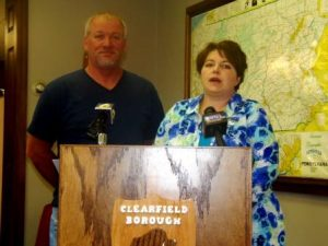 Clearfield Borough Operations Manager Leslie Stott and Lawrence Township Supervisor Randy Powell, chair, addressed flooding issues during a press conference this morning at the Clearfield Borough Administrative Offices. (Photo by Jessica Shirey)