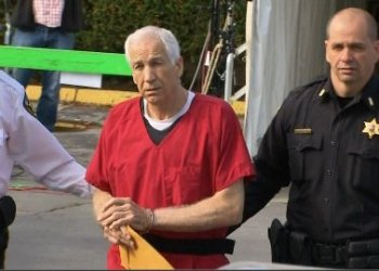 Jerry Sandusky departs court after sentencing on Tuesday, October 9, 2012. He received a 30 to 60 years sentence.