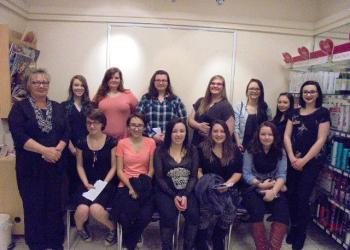 Shown, from left to right in the back, are: Cindy Billotte, JCPenney salon manager, and Emma Horne, Miranda Hartzfeld, Teira Lockwood, Courteney DeHaven, Santana Bricen, Holly Marshall and Meleana Swanson. In the front, from left, are: Norah Reed, Falisha Hutchins, Jordan Freibohle, Haley Allen and Elizabeth Wyne. (Provided photo)