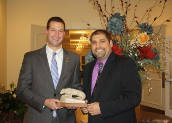 State Rep. Matt Gabler, left, was presented with the Distinguished Ambassador Award by the Penn State DuBois Alumni Society in October of 2015. He is pictured here with award presenter Nick Suplizio. Gabler speaks at Penn State DuBois commencement ceremonies on May 5.  (Provided photo)