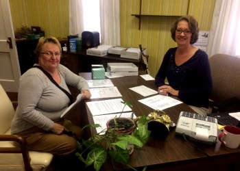 Veronica Muse (left) stopped in the Clearfield Community Pool office, located on the second floor of The Progress building, to purchases her 2017 Pool Membership from Connie Harris (right). The pool office is open weekdays from 9 a.m. – 12 p.m. (Provided photo)