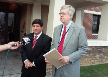 Shown are Clearfield County Commissioners Tony Scotto and John Sobel. (Photo by Wendy Brion)
