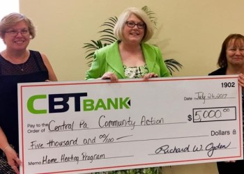 Shown, from left, are: Kathy Jacobson, assistant vice president/community office manager CBT Bank; Susan Hawthorne, executive director, Central Pennsylvania Community Action Inc.; and Bonnie Boop, family services case manager, CPCA. (Provided photo)