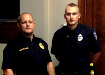 Shown are Police Chief Vincent McGinnis and Officer Ethan Fritz. (Photo by Jessica Shirey)