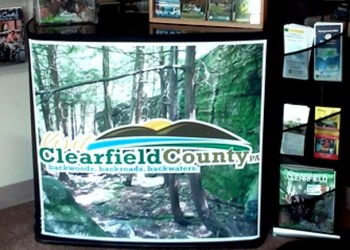 Shown is a display that will be used by Visit Clearfield County staff at upcoming shows and events. It's currently on display at the VCC office. (Photo by Wendy Brion)