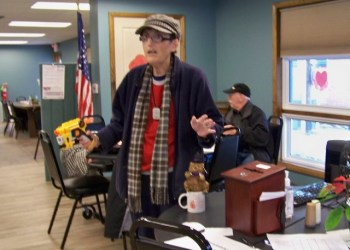 Jane Lee Yare is shown explaining Hoodie Hoo Day to the seniors at the Clearfield Center for Active Living. (Provided photo)
