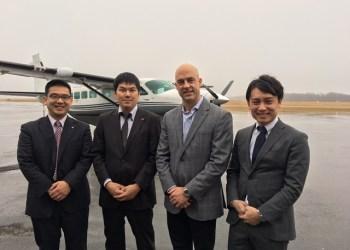 From left are Yoshihiko Oka, Tosen Co.; Yuki Niwa, Duskin Co.; Jason McCoy, CFO, Paris Companies; and Junji Matsuda, Duskin Co. (Provided photo)