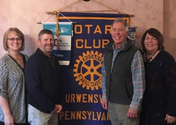 Pictured are Teresa and James; John Wright, program chairman; and Shelia Williams, club president. (Provided photo)