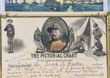 The service record of Spanish-American War veteran Jacob J. Spotts, a Philipsburg native, contains a handwritten account of the terms of his service from May to December 1898, surrounded by colored scenes from the War, such as Admiral Dewey's fleet in Manila Bay, shown here.   The poster-size record will be on special display over the summer at the Philipsburg Historical Museum, 206 N. Front St., Room 316 (Moshannon Building), and also at the memorial services at the Union Church on Sunday, May 27, beginning at 2 p.m.  (Provided photo)
