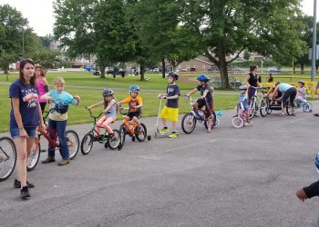 At a Safe Kids Clearfield County Bicycle Rodeo held last June at the DuBois City Park, local participants line-up for a parade to exhibit their new bike handling skills. (Provided photo)