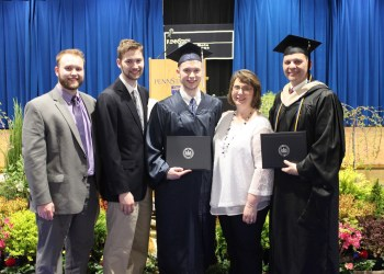 There Serafini family of Brockway has many ties to Penn State DuBois, including a recent father-son graduation. Left to right are Raymond III, Noah and Andrew, with their parents Lori and Ray.  (Provided photo)