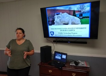 Assistant Teaching Professor Kelly Roen makes a presentation on value of the Penn State DuBois Wildlife Technology Program before the North American Wildlife Technology Association's accrediting board. (Provided photo)
