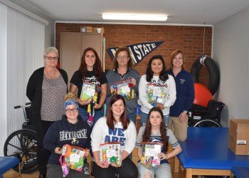 """Students in the OTA program at Penn State DuBois have donated """"busy bags"""" for use at area shelters that serve families who have been displaced by domestic violence.   Pictured, in front from left to right, are Kira Fry, Nikki Long, and Jessica Kline.  In back, from left to right, are Dorothy Van Dyke with the Crossroads Project at Community Action Inc. of Jefferson County, Kiersten Wasicki, Samantha Tarr, Katy Mazur and Assistant Teaching Professor in Occupational Therapy Amy Fatula.  (Provided photo)"""
