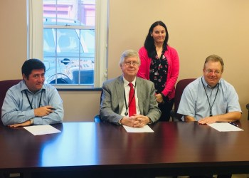 Pictured, in front, are Commissioners Tony Scotto, John A. Sobel, chairman, and Mark B. McCracken. In the back is Veterans Affairs Director Betina Nicklas. (Photo by GANT News Editor Jessica Shirey)