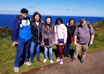 The Penn State DuBois Honors Group is shown at the Cliffs of Moher in Ireland. From left are: students John Mark Miller, Makayla Whaling and Raquel Zattoni, Honors Program Coordinator Evelyn Wamboye, Assistant Director of Career Services Anna Akintunde and student Andrew Mahle. (Provided photo)