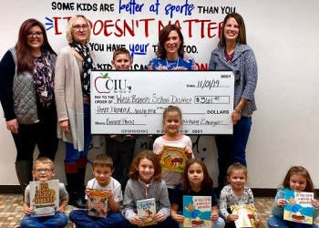 Pictured are: CIU 10's Haylee Hickman; West Branch Superintendent Michele Dutrow; Ms. Ashley White; and CIU 10's Abby Danko. (Provided photo)