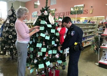 Pictured, from left, are: Darla Smay of Clearfield Pharmacy & Gift Shoppe, Ronda Vaughn, fundraising & events specialist for the CCAAA and Clearfield Borough Assistant Chief of Police Nathan Curry. (Provided photo)
