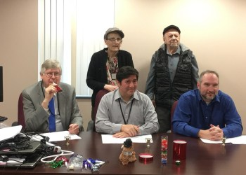 Pictured, in front, are: Clearfield County Commissioners John A. Sobel, Tony Scotto, chairman, and Dave Glass. In the back are Jane Lee Yare and Terry O'Conner. (Photo by GANT News Editor Jessica Shirey)