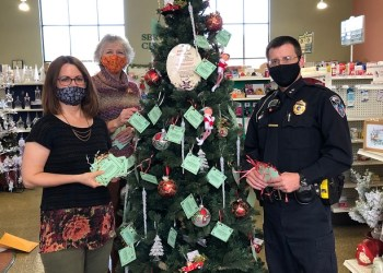 Pictured from left, Ronda Vaughn, fundraising & events specialist for the CCAAA, Darla Smay of Clearfield Pharmacy & Gift Shoppe, and Clearfield Borough Assistant Chief of Police Nathan Curry. (Provided photo)
