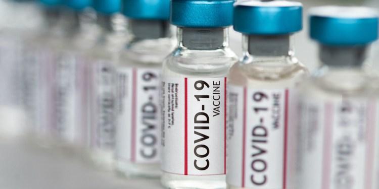Covid-19 Coronavirus Vaccine vials in a row