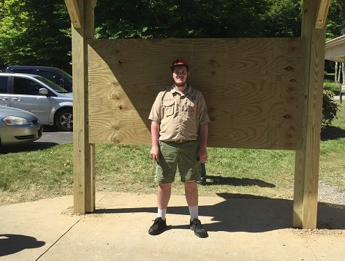Despite an interruption by COVID-19, Zachary Seltzer, the son of Roy and JoAnn Seltzer, earned his Eagle Scout Award with the construction of an information board at the East Branch Dam. (Provided photo.)