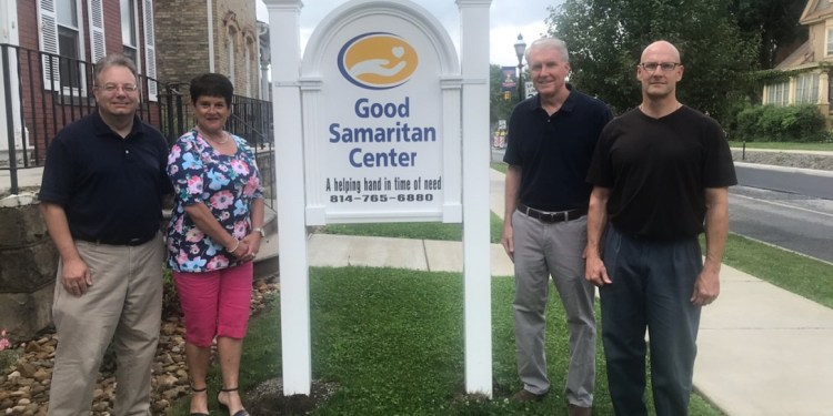 The Clearfield County Charitable Foundation awarded grant funding in 2020 to the Good Samaritan Center in Clearfield for a new sign in front of their Men's Shelter.    Pictured are CCCF Executive Director Mark McCracken, Good Samaritan Board Chair Michelle Fannin, Good Samaritan Center Chief Executive Officer Douglas K. Bloom and Good Samaritan Board Member Brent Thomas.  (Provided photo)