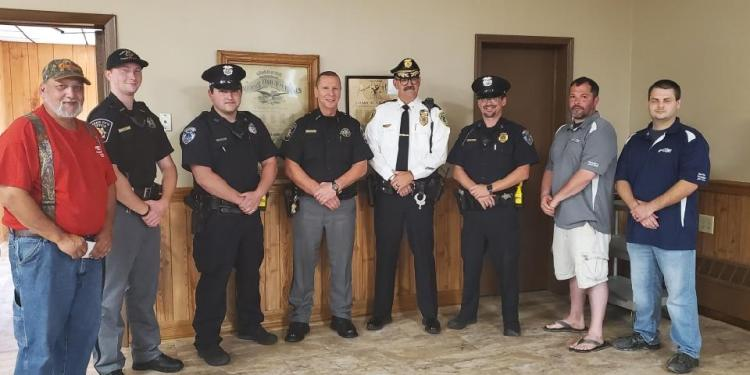 Pictured, from left, are: F.O.E. Vice President Steve Biancuzzo, Deputy Sheriff Porter Kling, Clearfield Borough Police Officer David Hoover, Sheriff Michael Churner, Lawrence Township Police Chief Douglas Clark, Clearfield Borough Assistant Police Chief Nathan Curry, F.O.E. Secretary Justin Hainsey and F.O.E. President Anthony Schultz.