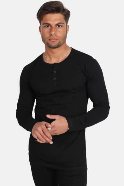 Køb Basic Brand Placket LS T shirt Black Her! | Ganto