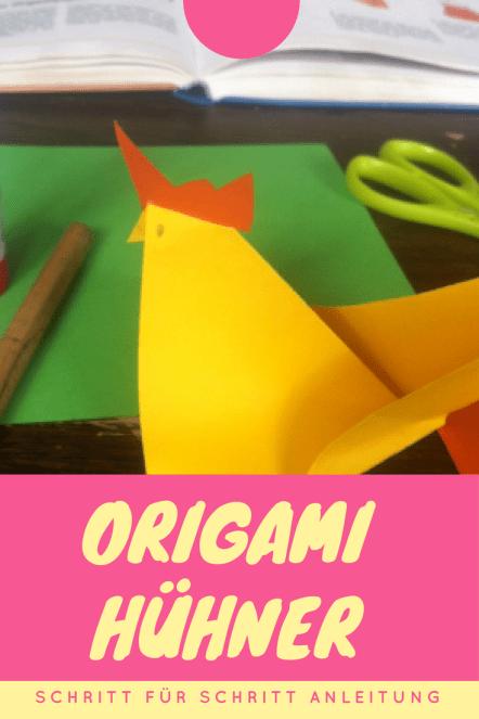 Origami Hühner für Ostern: Schritt für Schritt Anleitung. Kinderleichte Osterdeko, diese Hühner zum Falten. Das ist ideal für das Basteln mit Kindern, ein toller DIY und Basteltipp und schnell zum Selbermachen.