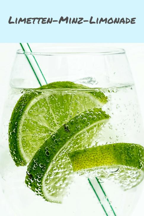 Rezept für eine schnelle, wenig gesüßte Limonade mit Limette und Minze - eine Limonade mit wenig Zucker und frischen Limetten und Pfefferminze - ein schnelles Sommerrezept, passt zum Grillen oder zum Salat