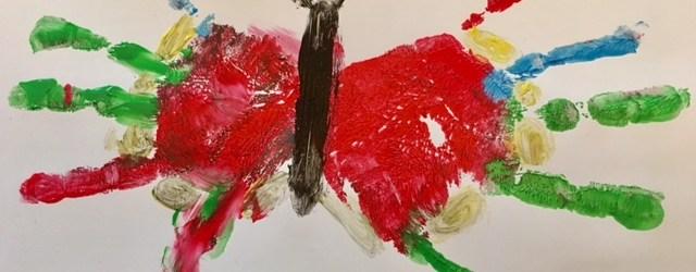 Schmetterling mit Fingerfarben malen