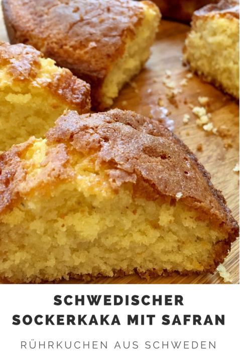 Schwedischer Sockerkaka mit Safran - Rezept für Rührkuchen aus Schweden