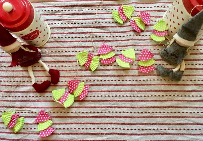 Girlande aus muffinförmchwn basteln - kleine tannenbäumchen basteln - Anleitung für Weihnachtsdekoration für kibder