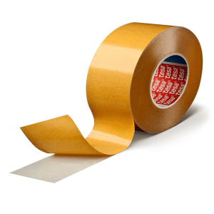 white double-sided self-adhesive tape consisting of a PP-film backing and a tackified acrylic adhesive.