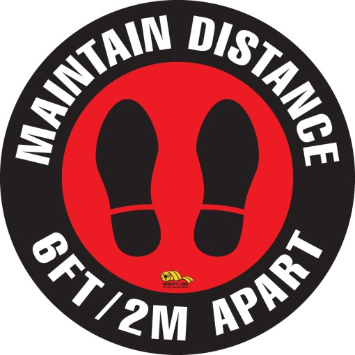 maintain distance safety floor sign