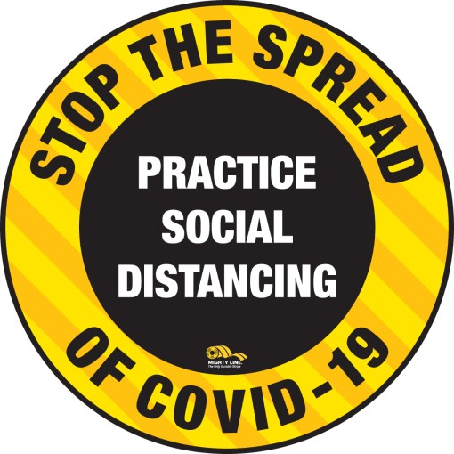 stop the spread - safety floor sign