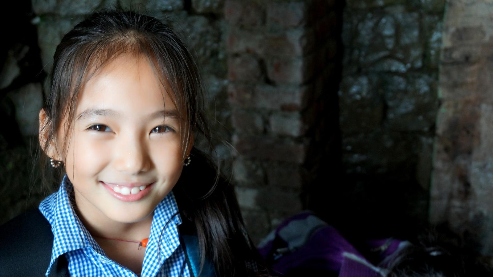 Młoda Tybetańska dziewczynka