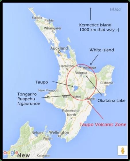 Mapa, Taupo Volcanic Zone