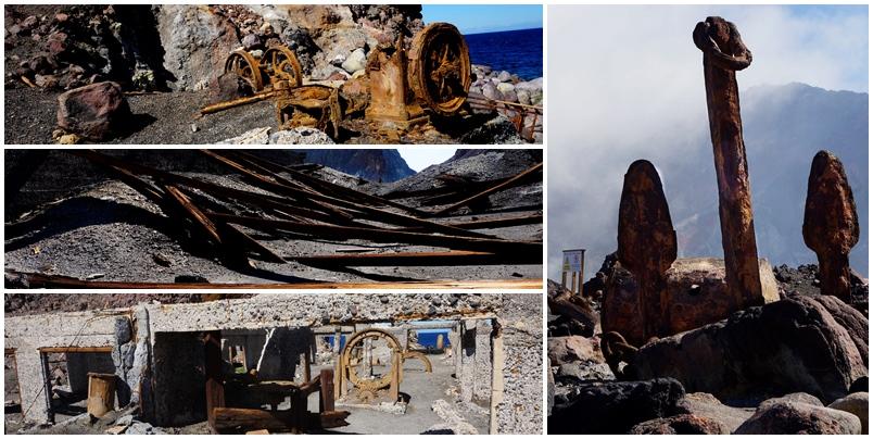 White Island, pozostałości kopalni siarki