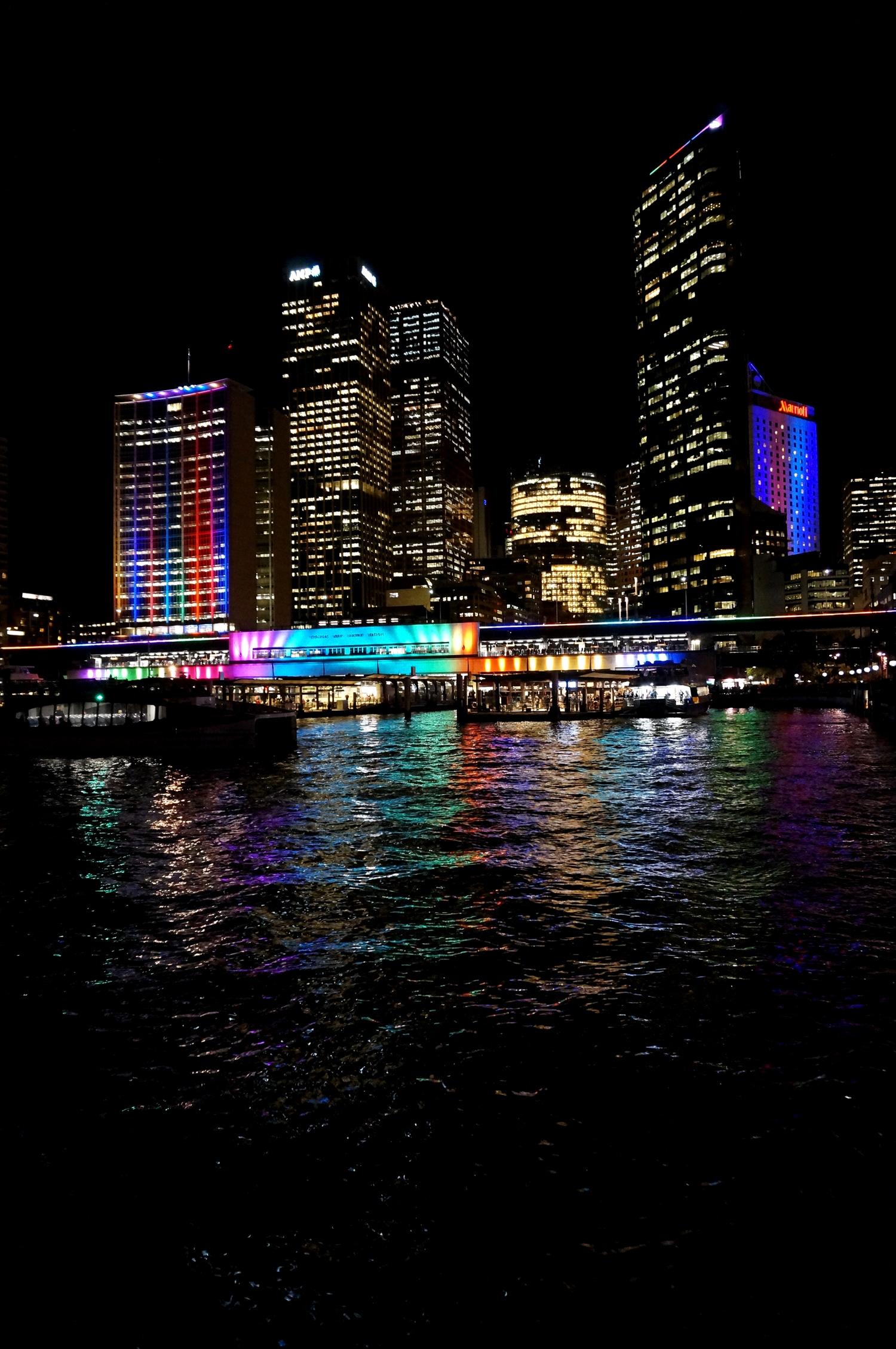 Harbour in Sydney during Vivid Sydney Festival