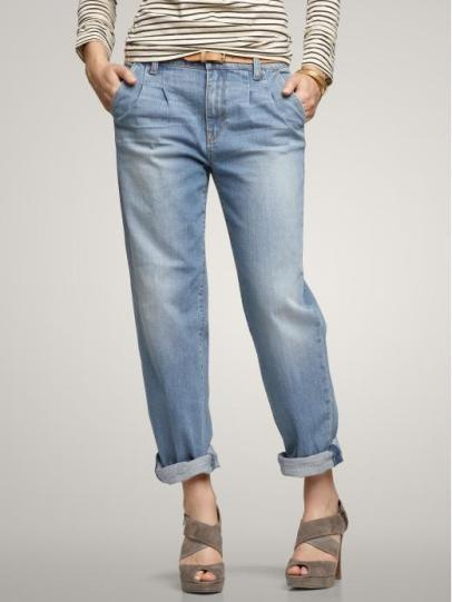 Gap Cropped pleat jeans (faded light wash)